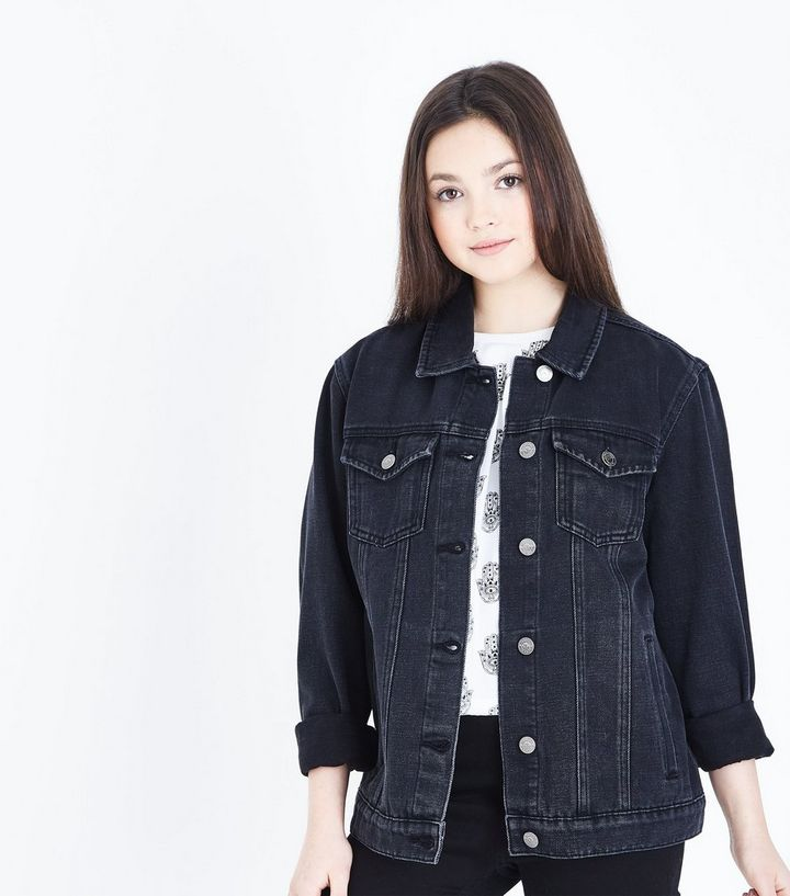 919e26a635525 Teens Black Denim Jacket