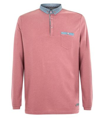 Pink Long Sleeve Polo T-Shirt New Look