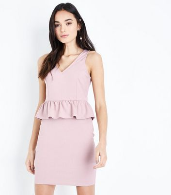 Pink Peplum Bodycon Dress New Look