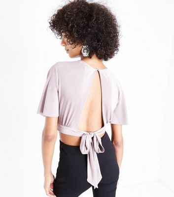 Mink Metallic Plisse Keyhole Crop Top New Look