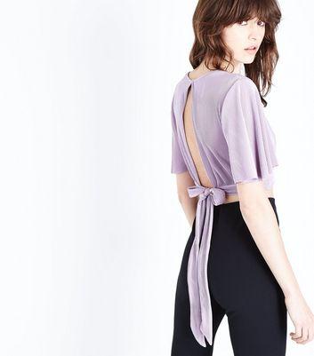 Lilac Metallic Plisse Keyhole Crop Top New Look
