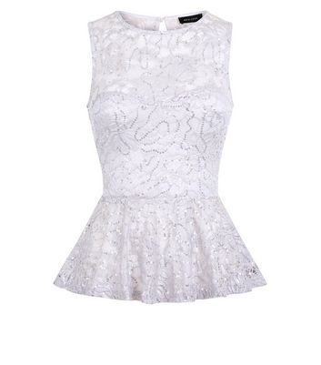 Pale Grey Sequin Lace Peplum Top New Look