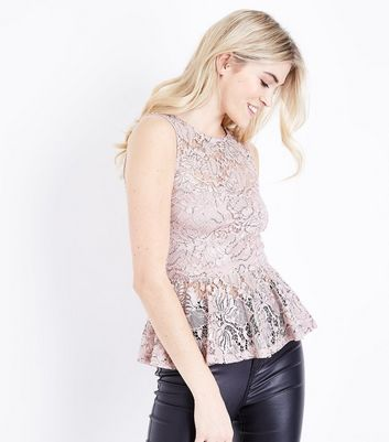 Shell Pink Sequin Lace Peplum Top New Look