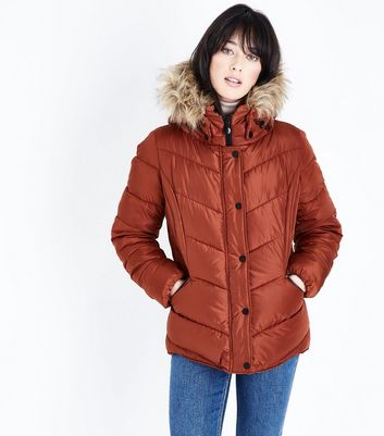 Tan Faux Fur Trim Hooded Puffer Jacket New Look