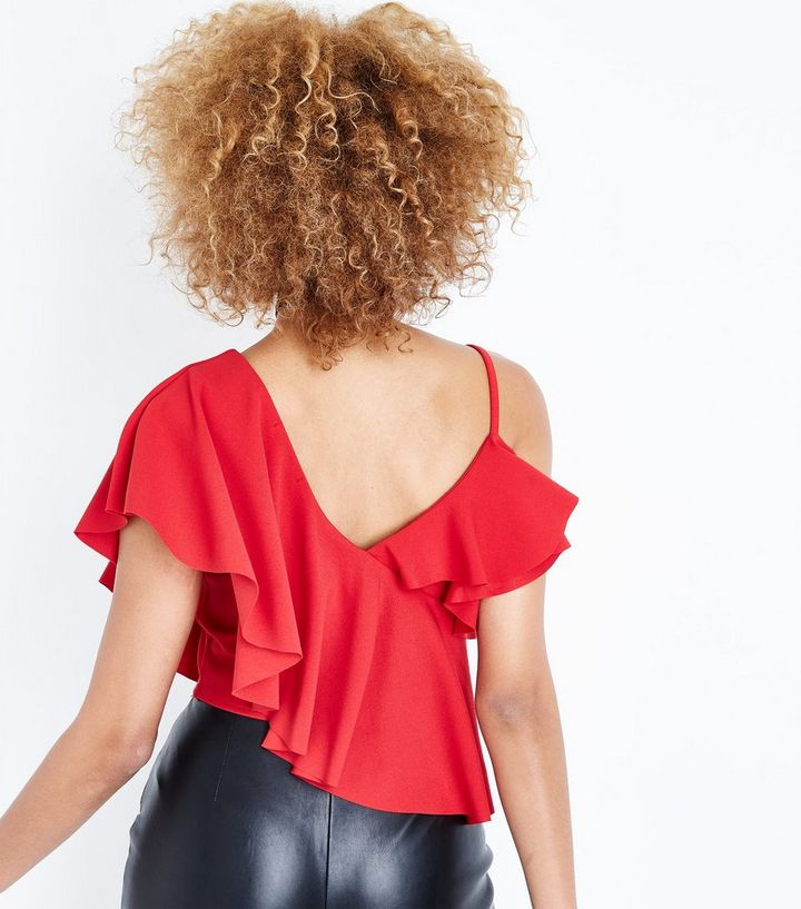 523aeb5f4a2 Home · Red Asymmetric Frill Crop Top. ×. ×. ×. Shop the look