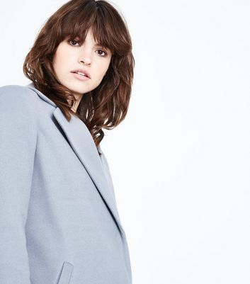 Pale Grey Revere Collar Split Back Coat New Look