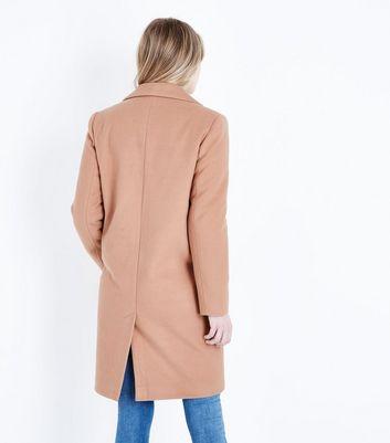 Camel Revere Collar Split Back Coat New Look