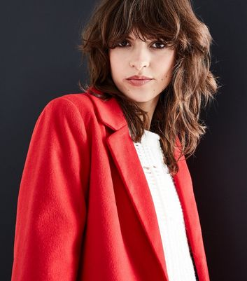 Red Revere Collar Split Back Coat New Look