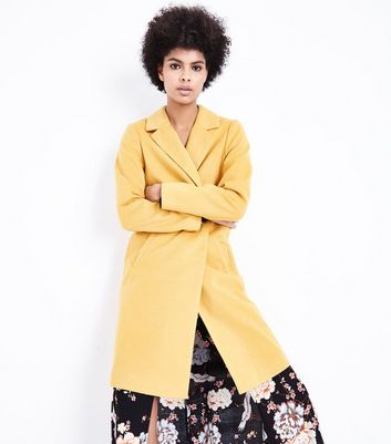 Pale Yellow Revere Collar Split Back Coat New Look