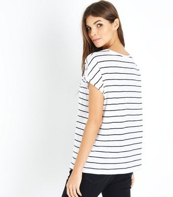 White Stripe Organic Cotton Pocket Front T-Shirt New Look