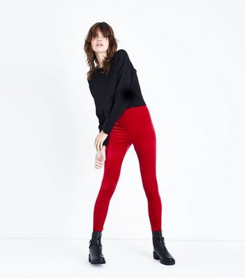 Red Velvet High Waist Leggings New Look