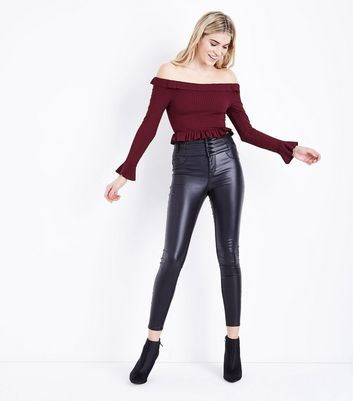 Burgundy Frill Trim Ribbed Bardot Crop Top New Look