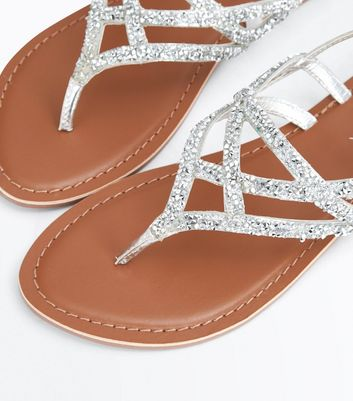 Silver Leather Crystal Embellished Toe Post Sandals New Look