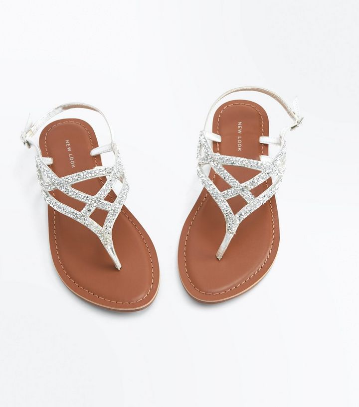161b425629d1 ... Silver Leather Crystal Embellished Flat Sandals. ×. ×. ×. Shop the look