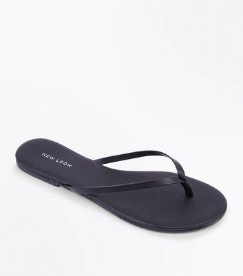 Black Toe Post Sandals New Look