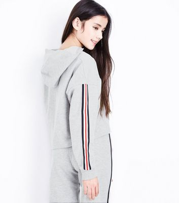 Teens Grey New York Stripe Sleeve Hoodie New Look