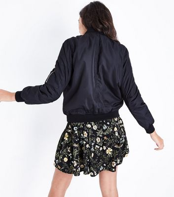 Blue Vanilla Black Satin Bomber Jacket New Look