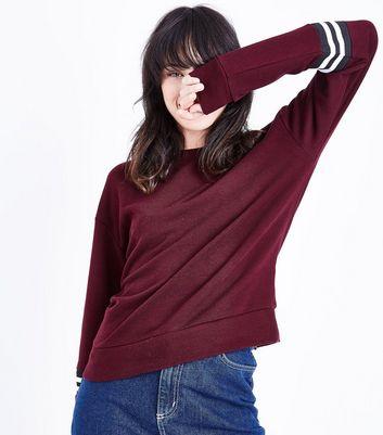 Burgundy Tipped Sleeve Sweatshirt New Look