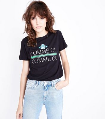 Black Comme Ci Comme Ca Print T-Shirt New Look