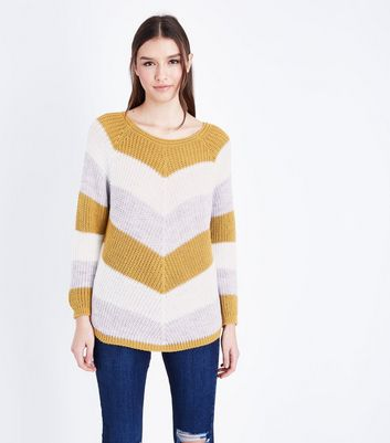 Cameo Rose Mustard Yellow Chevron Knit Jumper New Look