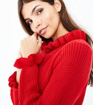 Cameo Rose Red Frill Edge Jumper New Look