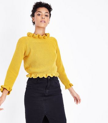 Cameo Rose Yellow Frill Neck Edge Jumper New Look