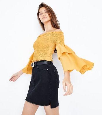 Cameo Rose Yellow Shirred Sleeve Bardot Top New Look