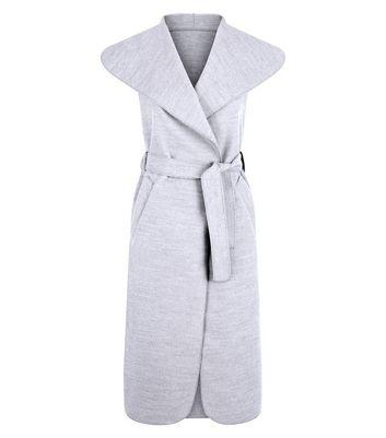 Cameo Rose Grey Sleeveless Longline Waterfall Jacket New Look