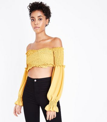 Cameo Rose Shirred Balloon Sleeve Crop Top New Look