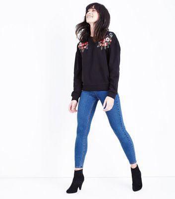 Black Floral Embroidered Shoulder Sweatshirt New Look