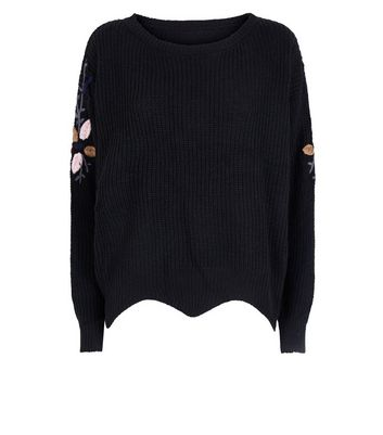 QED Black Floral Embroidered Scallop Hem Jumper New Look