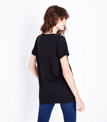 Black Have a Nice Day Metallic Print T-Shirt New Look