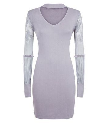 QED Grey Choker Neck Lace Sleeve Jumper Dress New Look