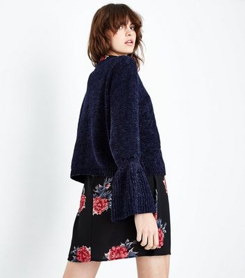 QED Navy Chenille Bell Sleeve Jumper New Look