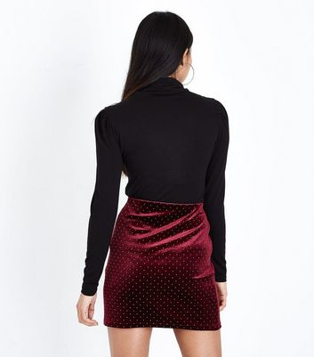 Petite Burgundy Velvet Stud Mini Skirt New Look
