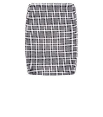 Petite Black Check Jacquard Tube Skirt New Look