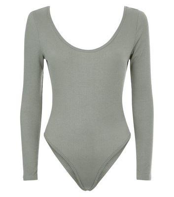 Olive Green Scoop Back Long Sleeve Bodysuit New Look