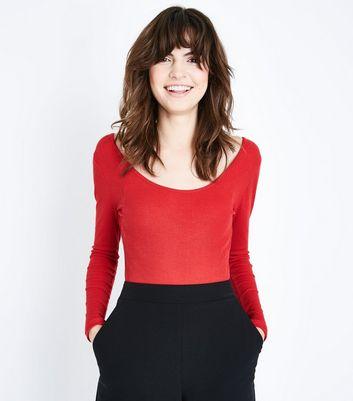 Red Scoop Back Long Sleeve Bodysuit New Look