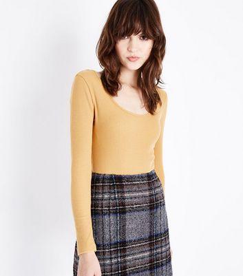 Mustard Yellow Scoop Back Long Sleeve Bodysuit New Look