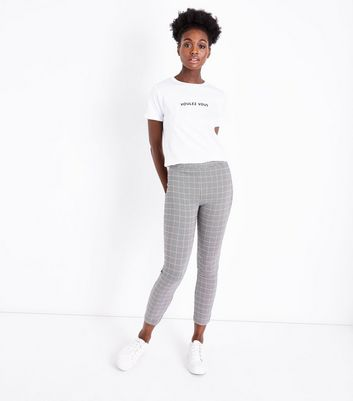 Black Check Stretch Skinny Stretch Trousers New Look