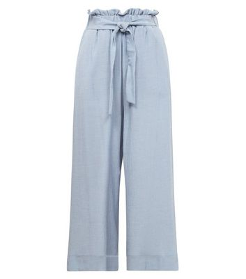 Pale Blue Crepe Tie Waist Cropped Trousers New Look