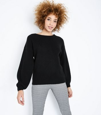 Black Lattice Back Balloon Sleeve Jumper New Look