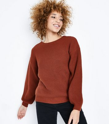 Rust Lattice Back Balloon Sleeve Jumper New Look