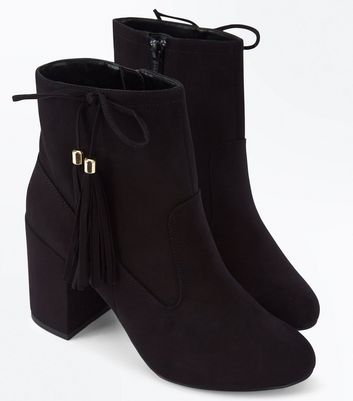 Black Suedette Bow Tassel Side Heeled Boots New Look