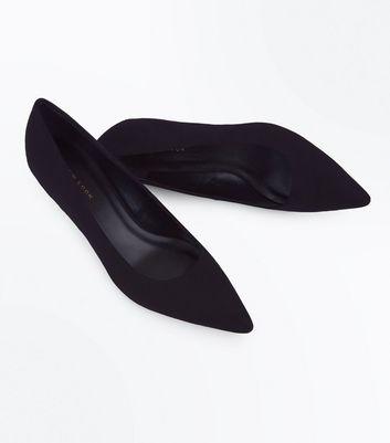 Black Suedette Pointed Kitten Heel Court Shoes New Look