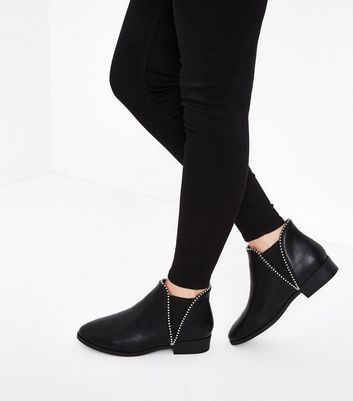 Wide Fit Black Stud Trim Chelsea Boots New Look