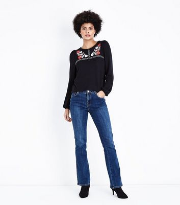 Black Floral Embroidered Cross Stitch Blouse New Look