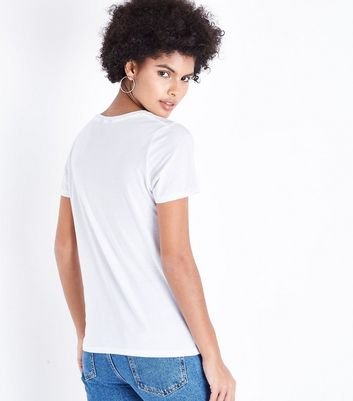 White Moi et Toi Pearl Embellished T-Shirt New Look