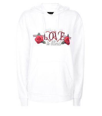 White Love is Blind Slogan Puff Print Hoodie New Look