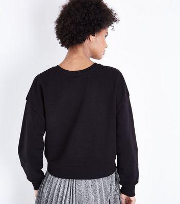 Black 1978 Print Pearl Embellished Sweatshirt New Look